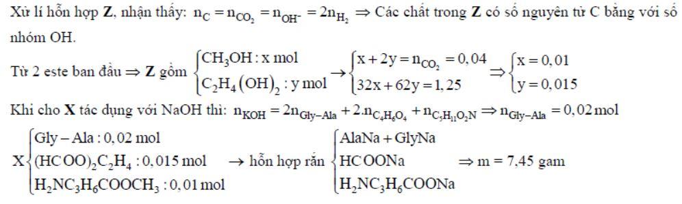 Còn nếu đốt cháy hoàn toàn Z thì thu được 1,76 gam CO2. Giá trị của m là