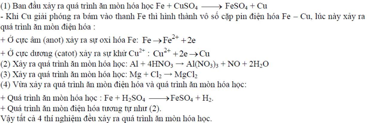 Số thí nghiệm xảy ra ăn mòn hóa học là